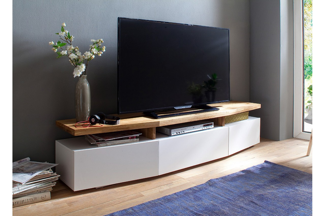 Meuble tv design ch ne massif et blanc cbc meubles for Meuble tele blanc et chene
