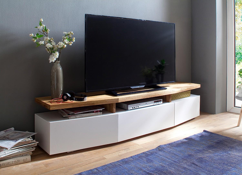Meuble TV design chêne massif et blanc