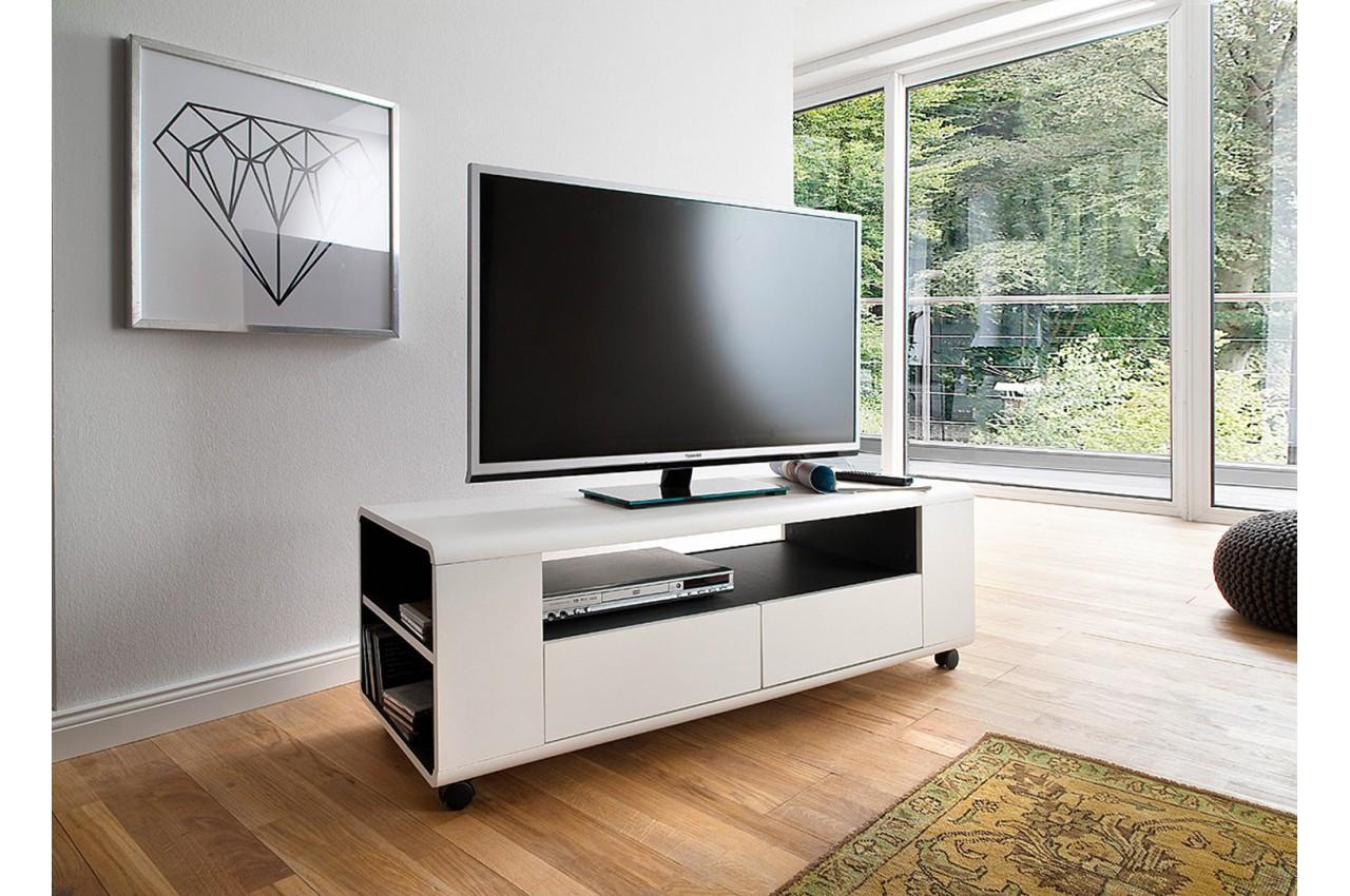 meuble tv design blanc sur roulettes pas cher cbc meubles. Black Bedroom Furniture Sets. Home Design Ideas