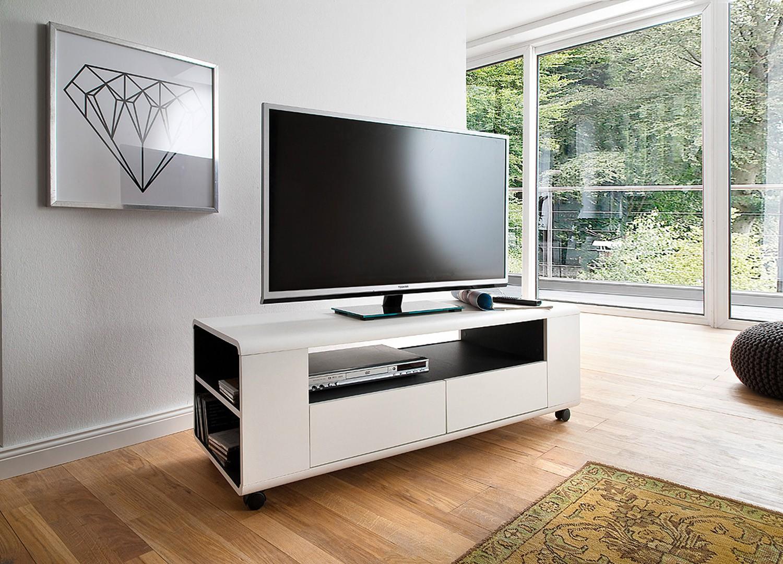 Meuble TV design blanc sur roulettes pas cher