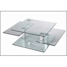 Table Basse Design Carrée en Verre Extensible