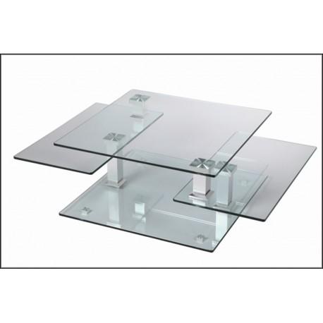 Table basse design carr e en verre extensible astucia 180 cbc meubles - Table carree extensible design ...