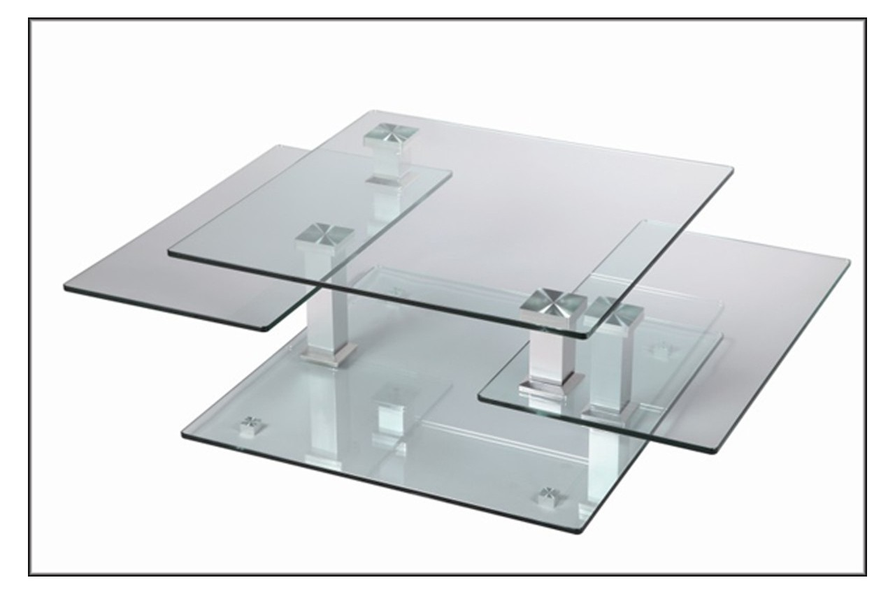 Table basse design carr e en verre extensible cbc meubles - Table de salon en verre ...