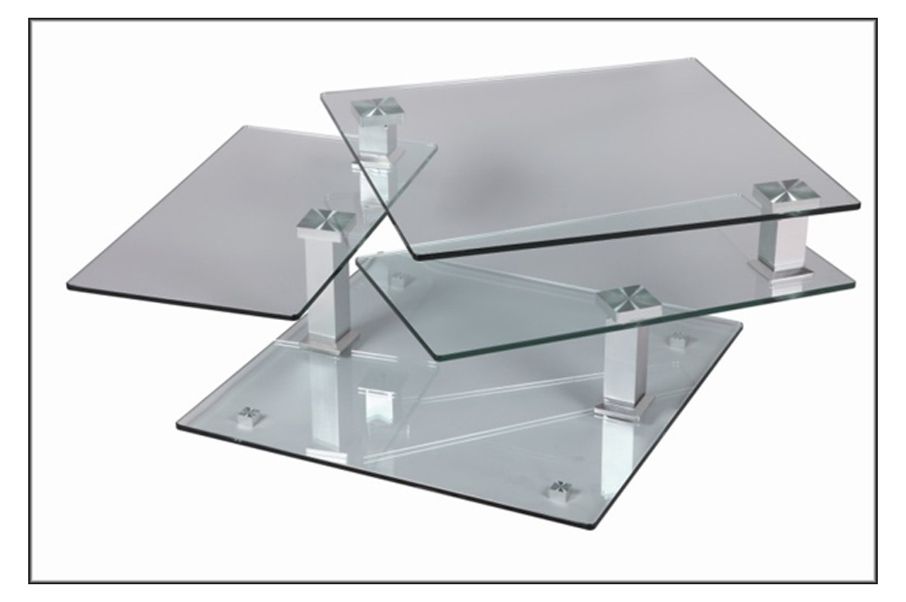 Table basse design carr e en verre extensible cbc meubles for Table de television en verre