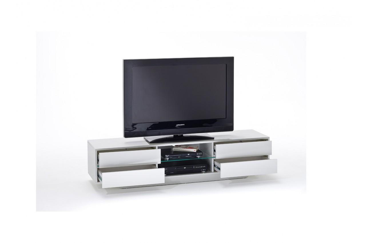 Meuble tv design blanc laqu led bleu cbc meubles - Meuble tv laque blanc led ...
