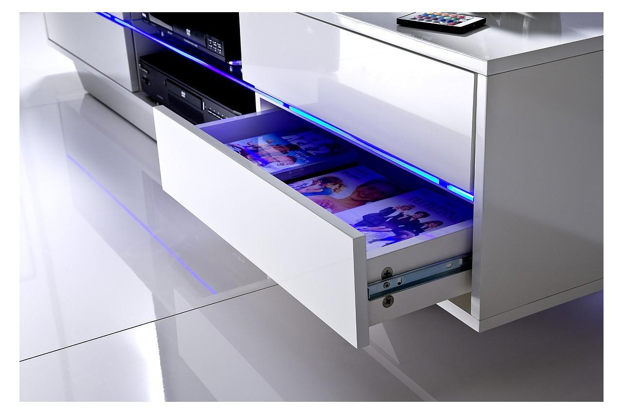 Meuble tv design blanc laqu led bleu cbc meubles - Meuble bas design laque ...