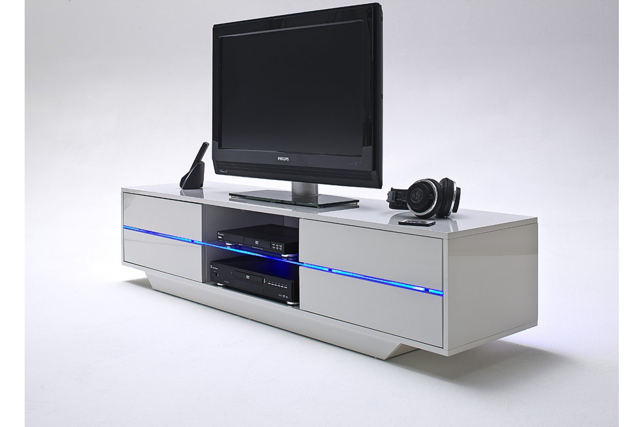 Meuble tv design blanc laqu led bleu cbc meubles for Meuble tv complet design