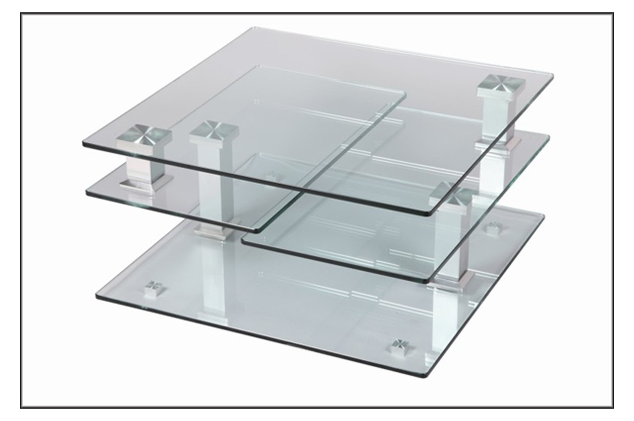 Table basse design carr e en verre extensible cbc meubles - Table basse carree verre ...