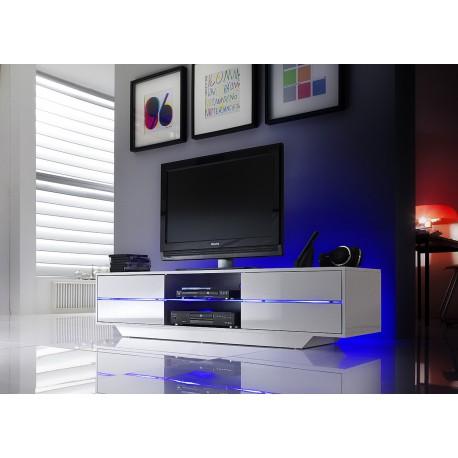Meuble TV design blanc laqué à led bleu
