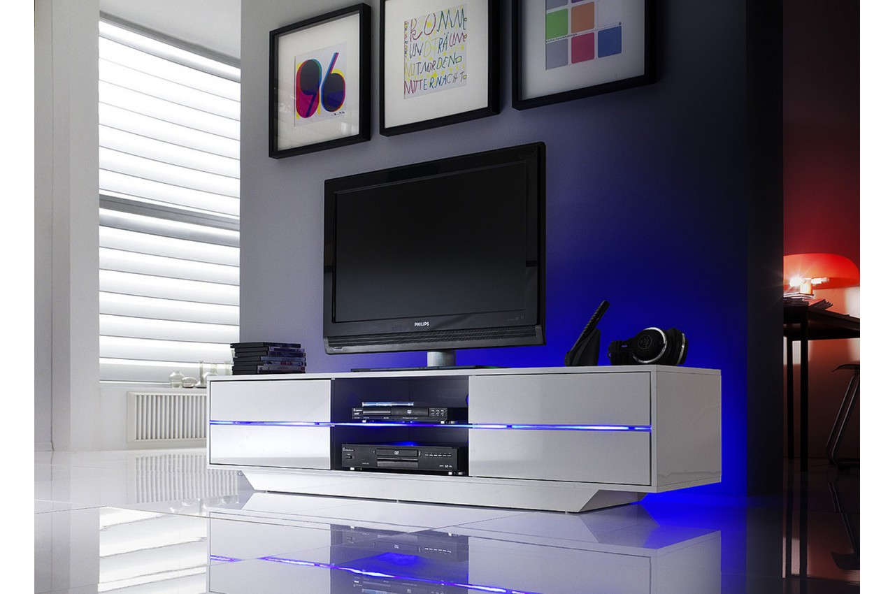 meuble tv design blanc laqu led bleu cbc meubles. Black Bedroom Furniture Sets. Home Design Ideas