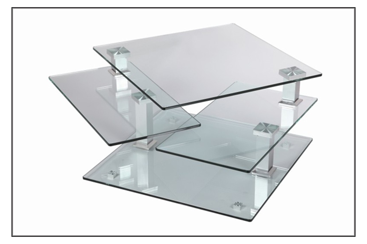Table basse design carr e en verre extensible cbc meubles - Table carree verre ...