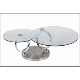Table Basse Design Ronde en Verre Modulable