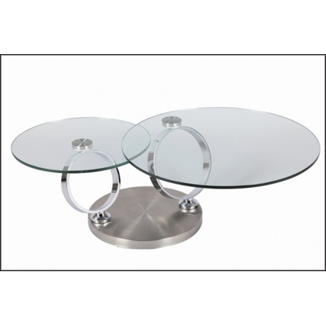 Table basse design ronde en verre modulable cbc meubles - Table ronde en verre design ...