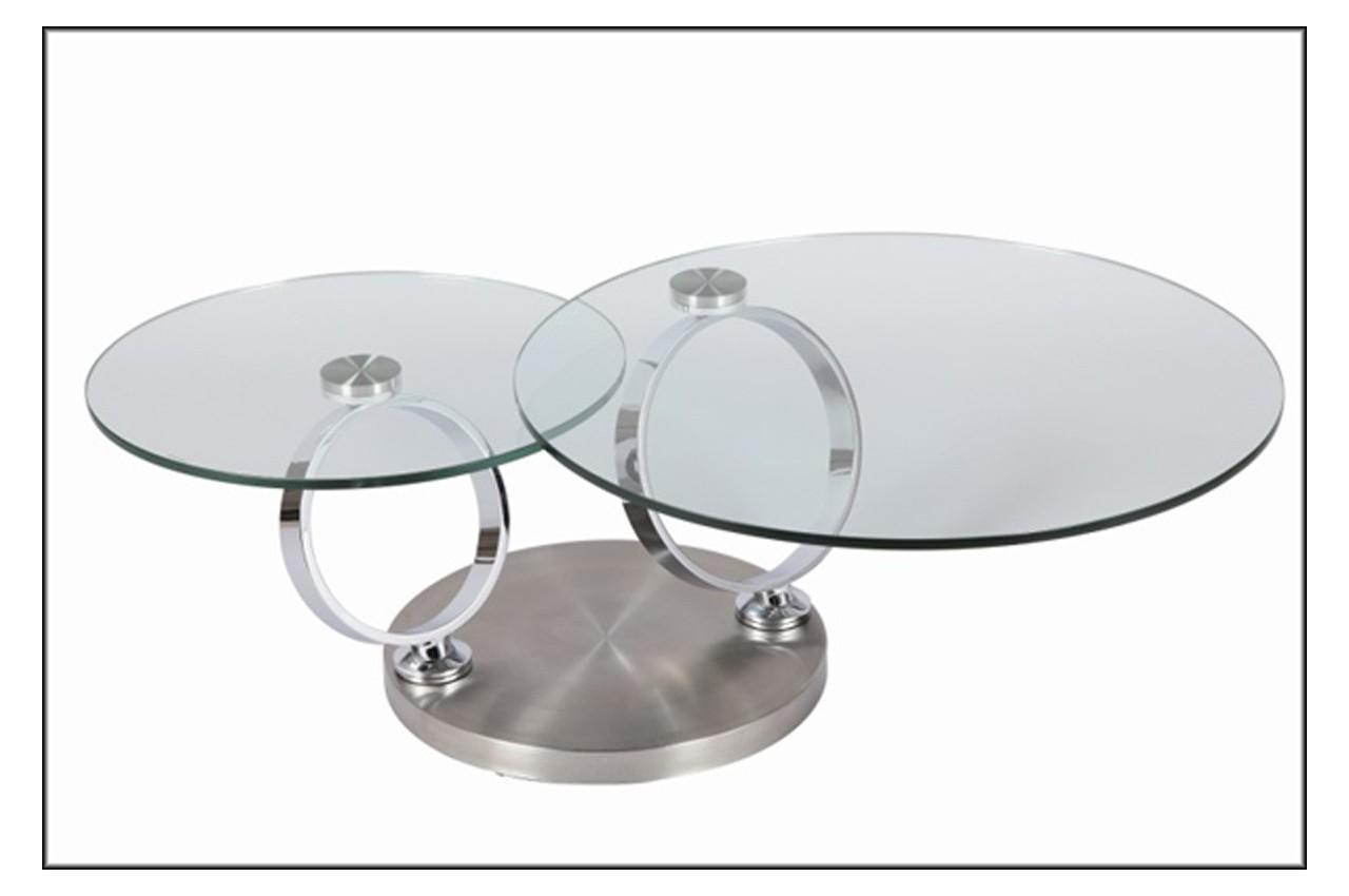 Table basse design ronde en verre modulable cbc meubles for Table basse verre but