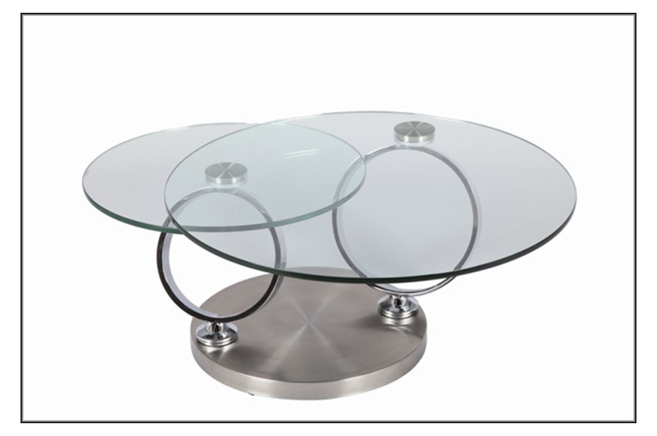 Table basse design ronde en verre modulable cbc meubles for Verre pour table basse