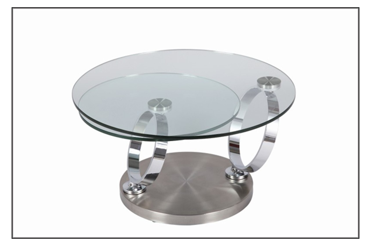 Table basse design ronde en verre modulable cbc meubles - Table basse verre but ...