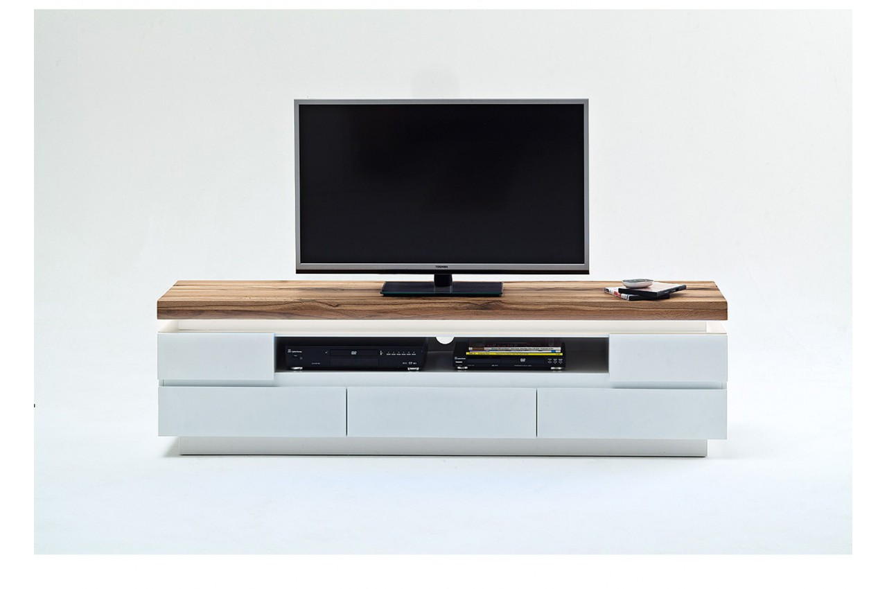 meuble tv design laqu blanc mat et ch ne led cbc meubles. Black Bedroom Furniture Sets. Home Design Ideas