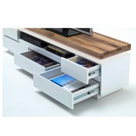 Meuble tv design ameublement moderne pour t l vision for Banc tv blanc et bois