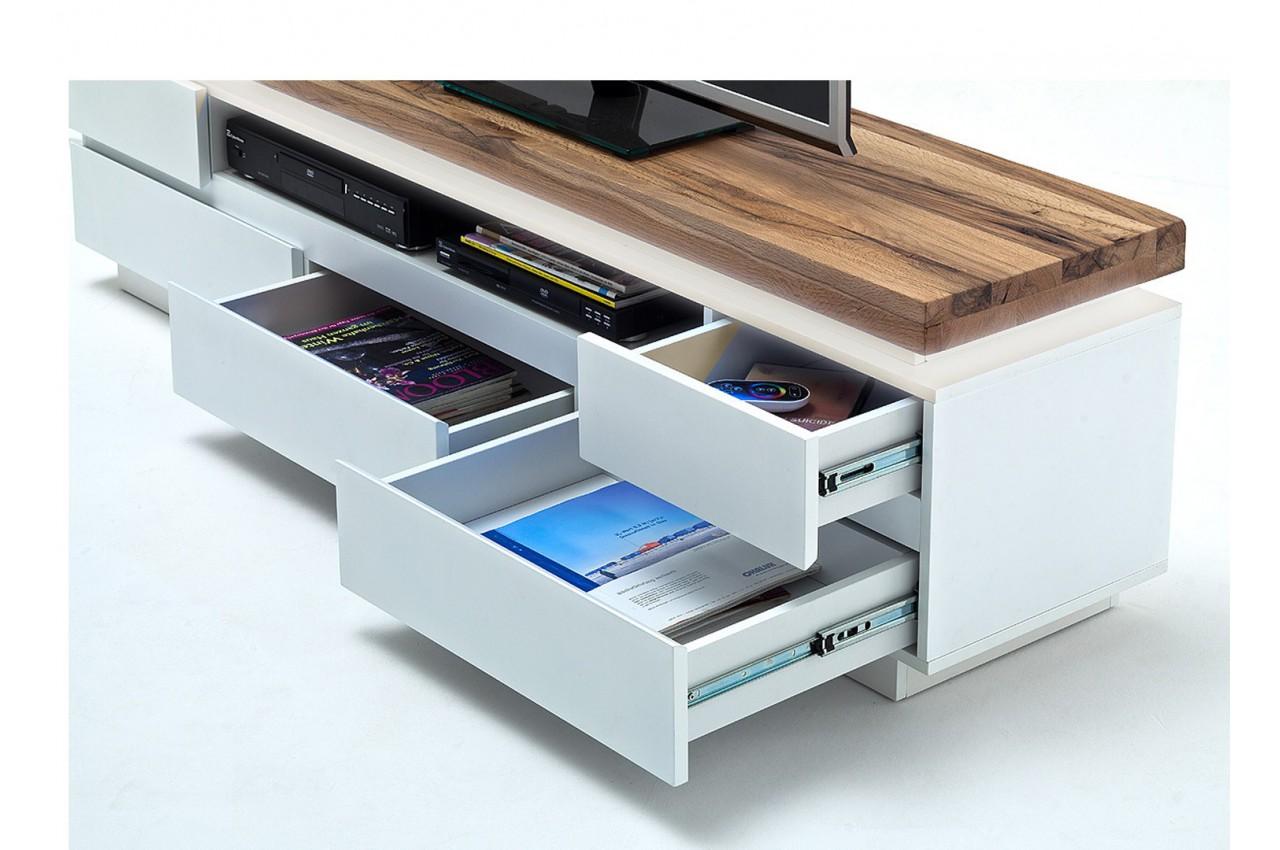 meuble tv design laqu blanc mat et ch ne led cbc meubles. Black Bedroom Furniture Sets. Home Design Ideas
