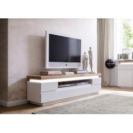 Meuble TV design laqué blanc mat et chêne à led