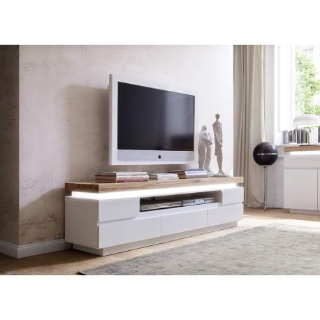 Meuble Tv Design Laqué Blanc Mat Et Chêne à Led Cbc Meubles