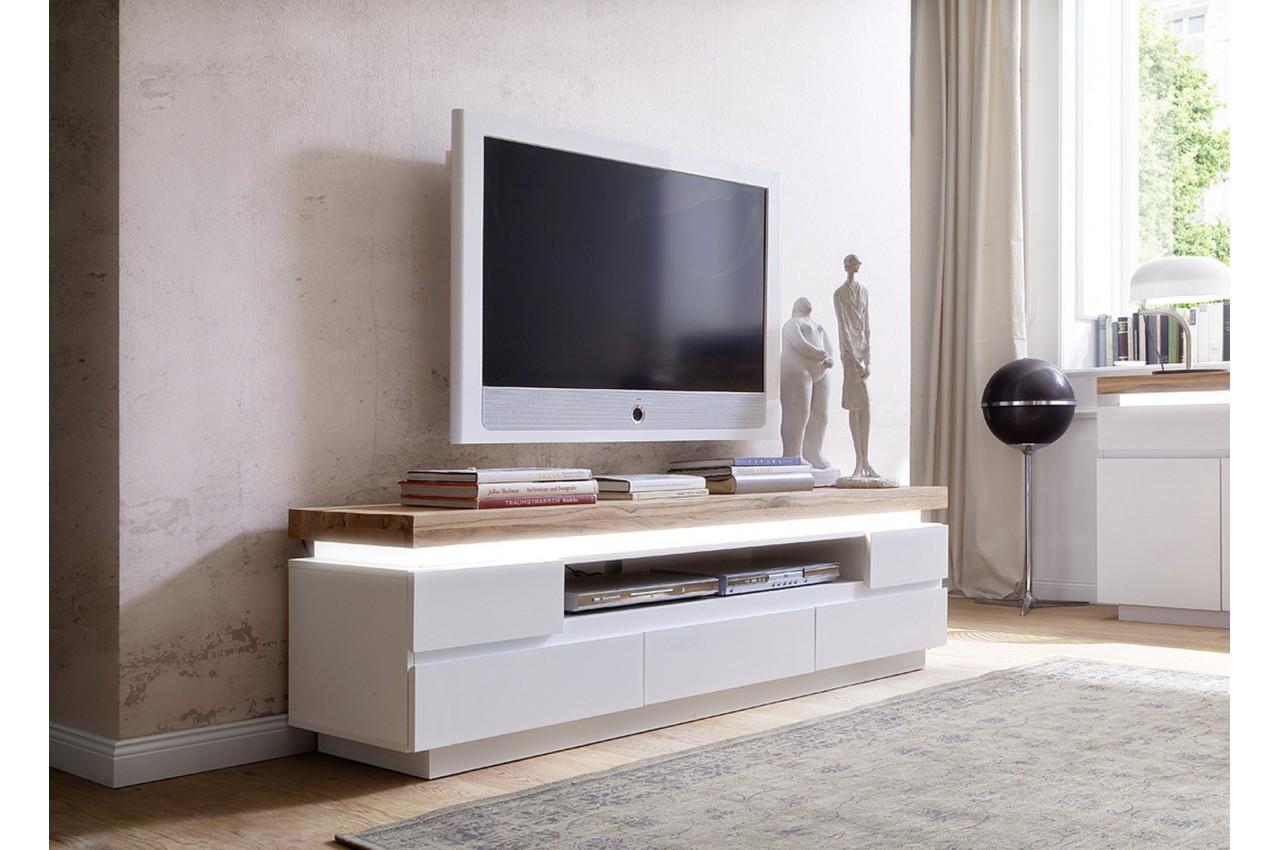 Meuble tv design laqu blanc mat et ch ne led cbc meubles for Banc tv blanc et bois