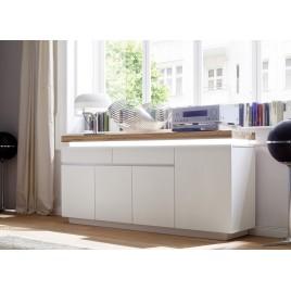 buffet design laqu blanc mat et chne led - Meuble De Salon Buffet