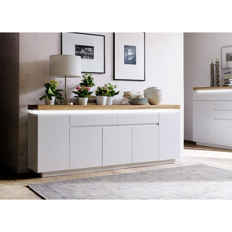 meuble buffet 2 m blanc mat et bois lumineux cbc meubles. Black Bedroom Furniture Sets. Home Design Ideas