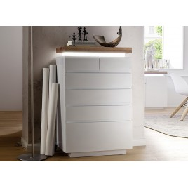 Commode design blanc laqué mat 6 tiroirs