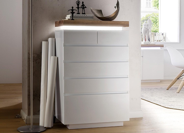 Commode design blanc laqué mat 6 tiroirs