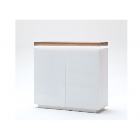buffet haut contemporain blanc led cbc meubles. Black Bedroom Furniture Sets. Home Design Ideas