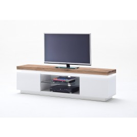 Meuble TV design laqué blanc mat et bois à led