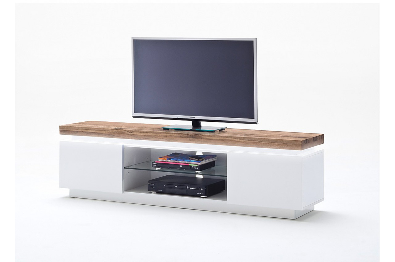 Meuble tv design laqu blanc mat et bois led cbc meubles - Meuble tv high tech ...