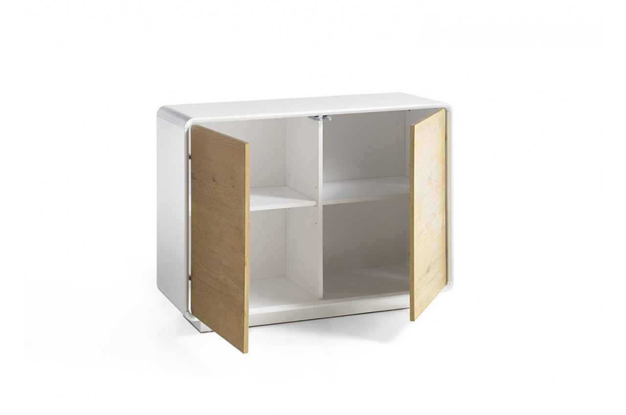 Meuble commode design bois et laque matte blanche cbc for Meuble commode design