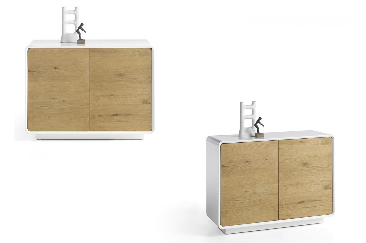 Meuble commode design bois et laque matte blanche cbc for Meuble commode design