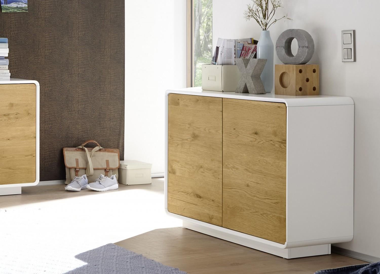 Meuble commode design bois et laque matte blanche