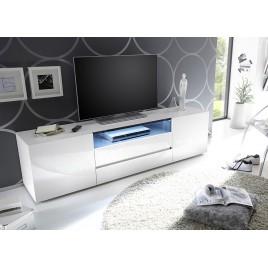 Meuble TV design laqué blanc brillant