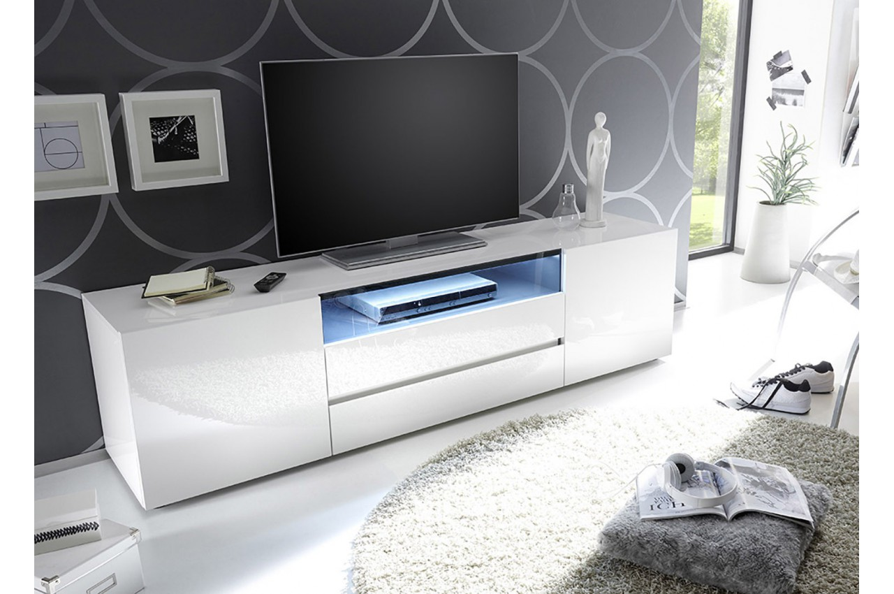 Meuble Tv Design Laqu 233 Blanc Brillant Cbc Meubles