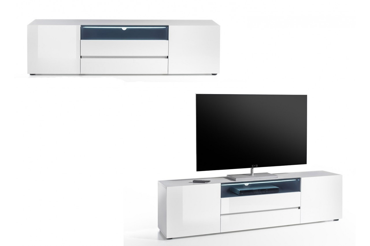 meuble tv design laqu blanc brillant cbc meubles