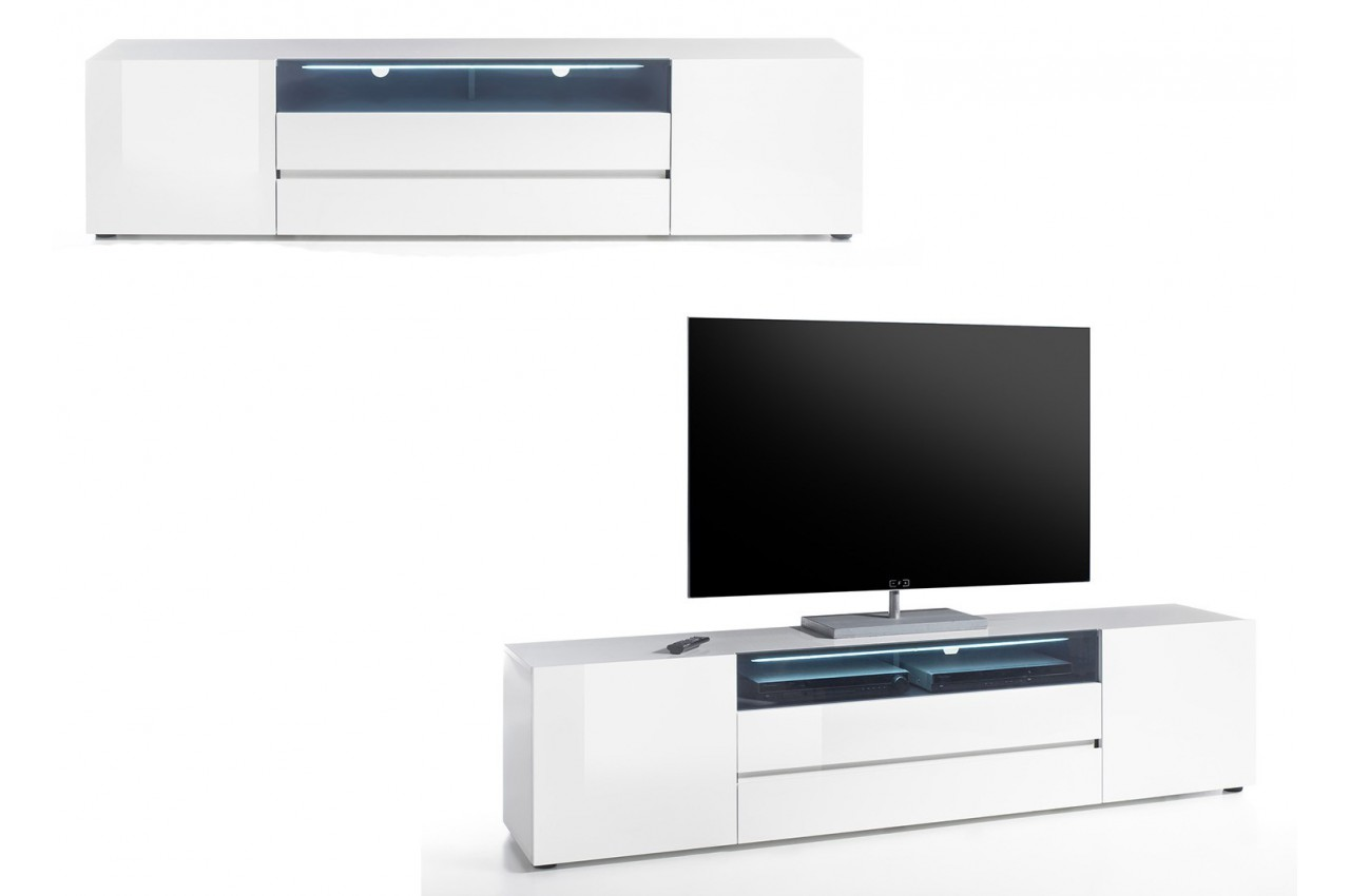 Meuble tv design laqu blanc 2m cbc meubles for Meuble tv long blanc