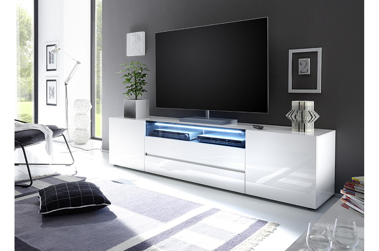 Meuble tv design laqu blanc 2m cbc meubles - Meuble tv tres long ...