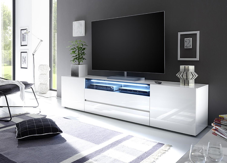 Meuble TV design laqué blanc 2m