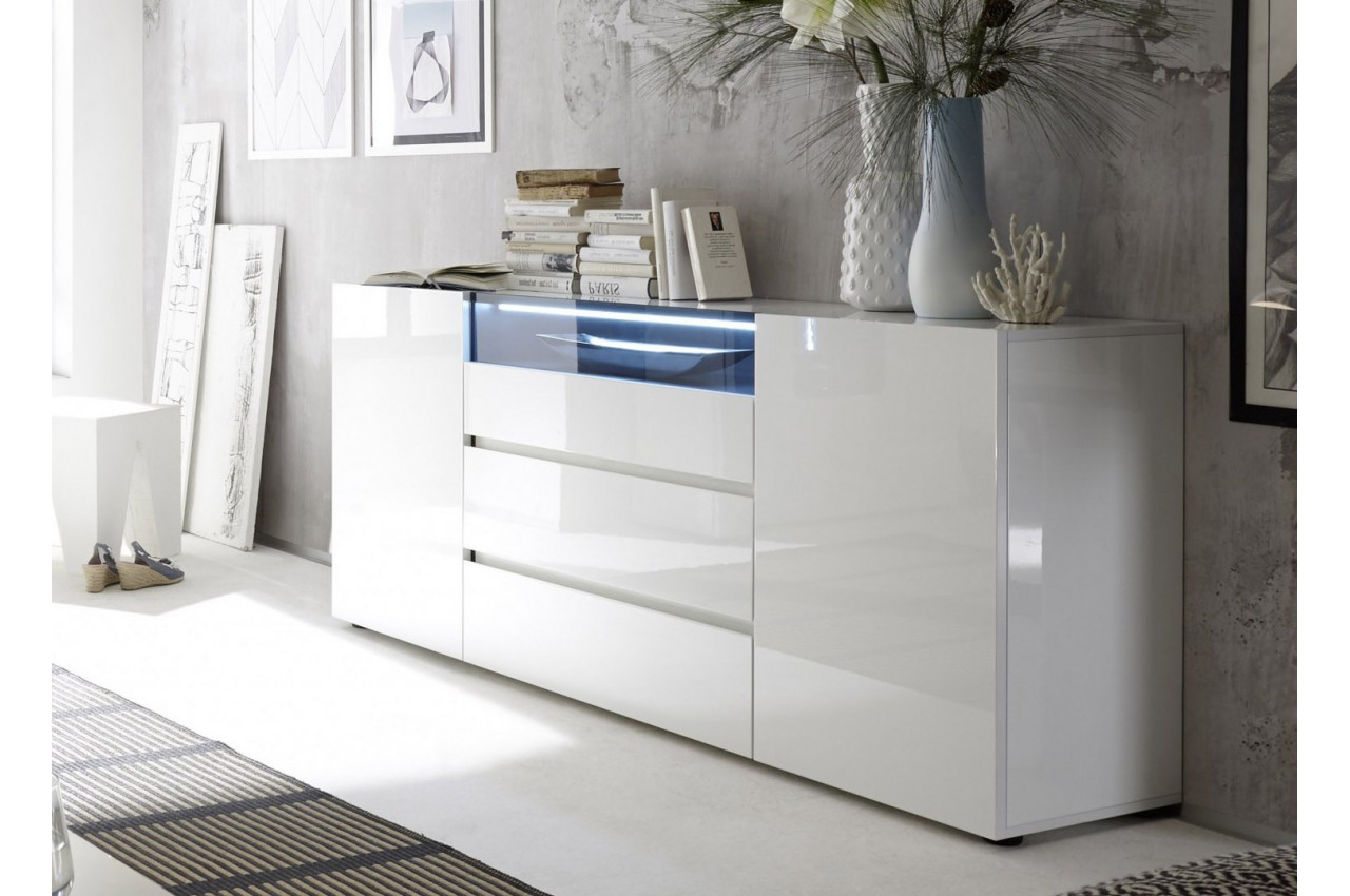 buffet design laqu blanc brillant cbc meubles. Black Bedroom Furniture Sets. Home Design Ideas