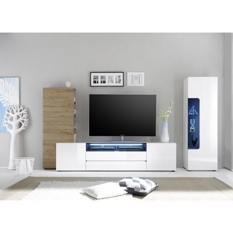 Meuble tv mural design laqu blanc et ch ne cbc meubles - Meuble tv mural blanc ...