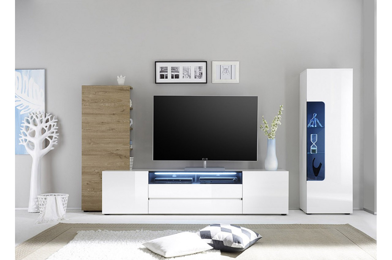 meuble tv mural design laqu blanc et ch ne cbc meubles. Black Bedroom Furniture Sets. Home Design Ideas