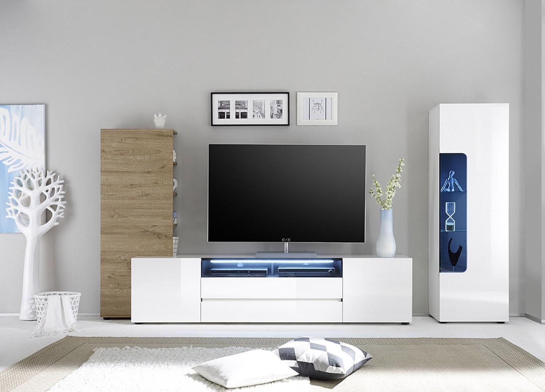Meuble TV mural design laqué blanc et chêne