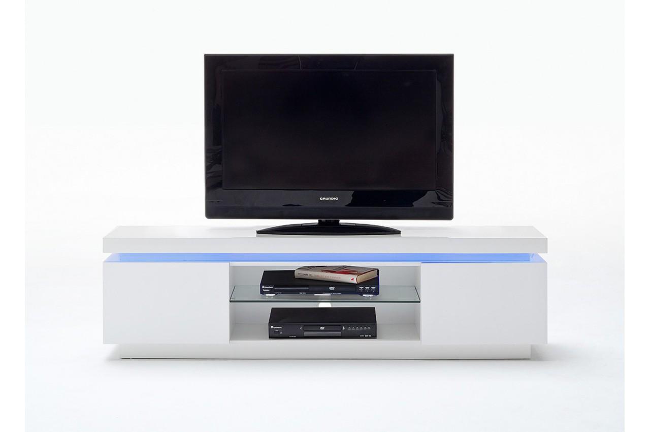 Meuble tv design laqu blanc led rgb cbc meubles - Meuble blanc laque led ...