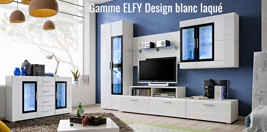 buffet led blanc laqu elfy cbc meubles. Black Bedroom Furniture Sets. Home Design Ideas