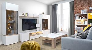 Meuble tv mural design blanc et bois
