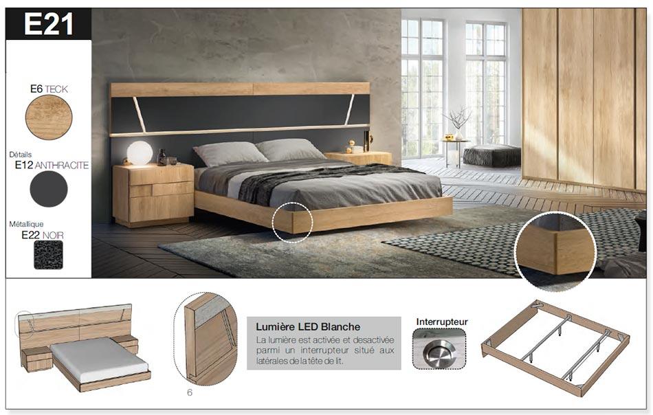 Lit moderne en bois 160x200 cm